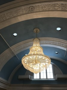 gorgeous architecture accentuated by stunning chandeliers